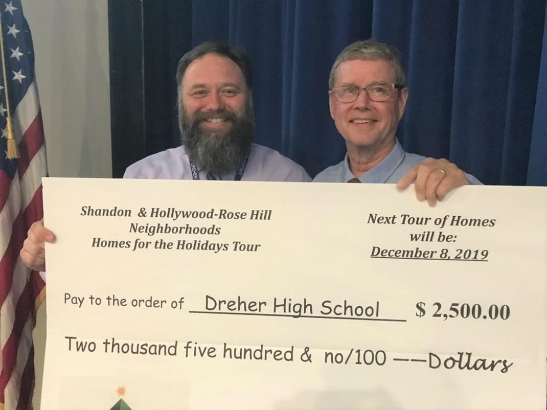 BIG Check from Shandon Hollywood-Rose Hill Homes for the Holidays Tour